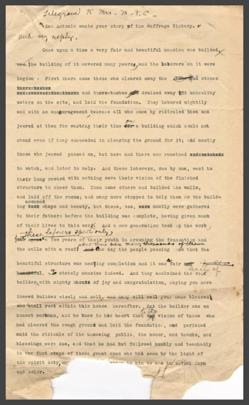 Typoskript von Minnie Fisher Cunningham: Story of the Suffrage Victory. University of Houston Digital Library. Public Domain.